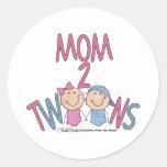 Mum 2 Twins Boy and Girl Round Sticker