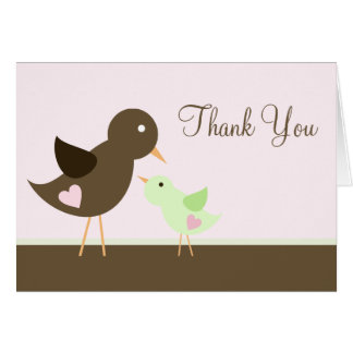 Mum and Baby Bird Baby Shower Thank You Greeting Card