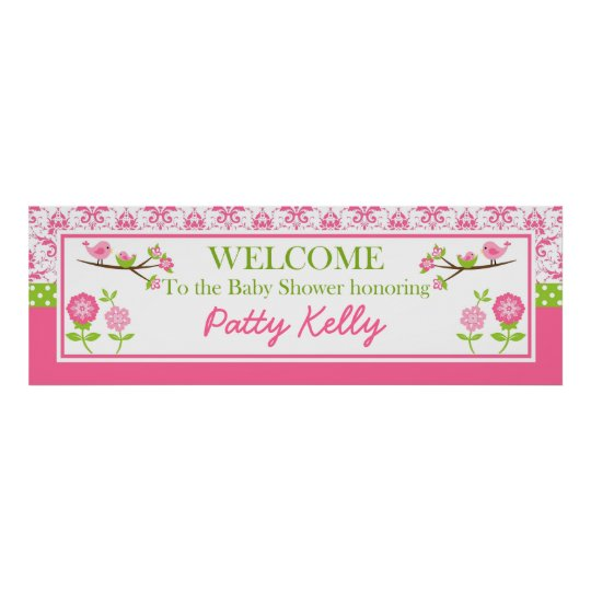 Mum and Baby Bird pink Shower Banner Personalise