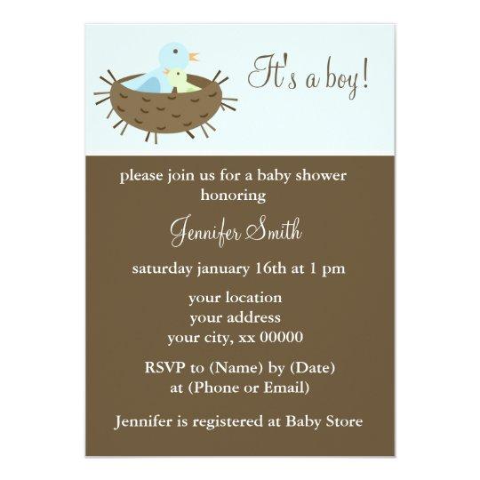 Mum and Baby Birds Boy Baby Shower Card