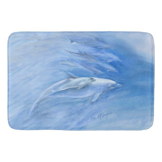 Mum and Baby Bottlenose Dolphin swimming together Bath Mat
