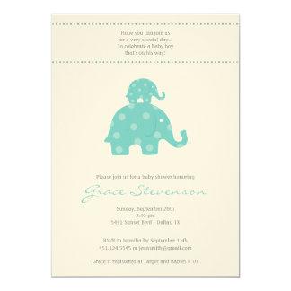 Mum and Baby Elephant Baby Boy Shower Invitation