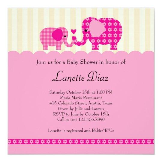 Mum and Baby Elephant Baby Girl Shower Invitation