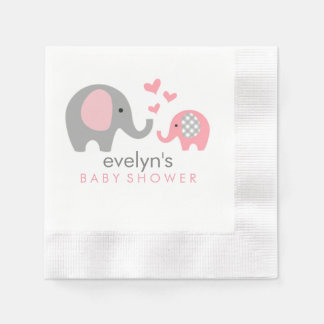Mum and Baby Elephant Baby Shower Napkins Pink Disposable Napkin