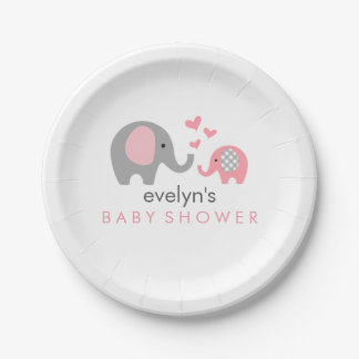 Mum and Baby Elephant Baby Shower Paper Plate Pink
