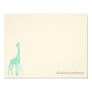 Mum and Baby Giraffe Flat Thank You Cards 11 Cm X 14 Cm Invitation Card