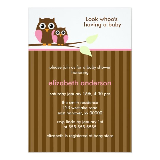Mum and Baby Owl {pink} Baby Shower Card