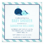 Mum and Baby Whale Baby Shower {blue} 13 Cm X 13 Cm Square Invitation Card