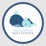 Mum and Baby Whale Baby Shower {blue} Round Sticker