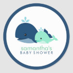 Mum and Baby Whale Baby Shower {green} Round Stickers