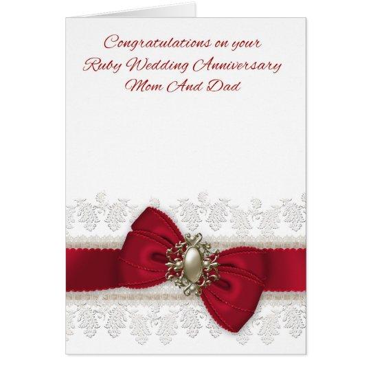 Mum And Dad Ruby Wedding Anniversary Stylish Card