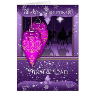 mum and dad, season's greetings holiday card in pu