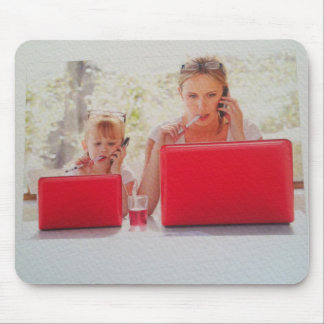 mum and daughter on laptop Mousepad