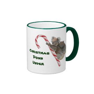 Mum and Joey Koala Candy Cane Christmas Ringer Coffee Mug