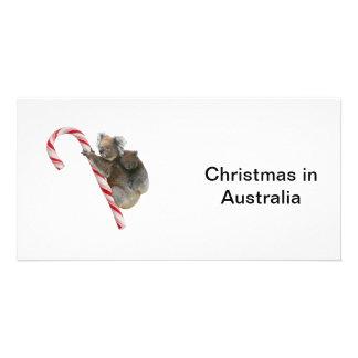 Mum and Joey Koala Candy Cane Christmas Photo Greeting Card
