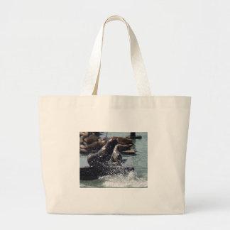 Mum Baby Sea Lion Leinentasche