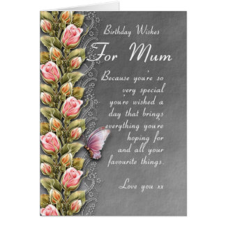mum birthday card - birthday card with roses and b