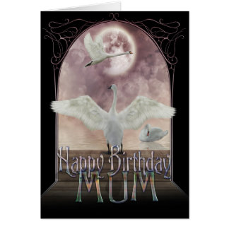 Mum Birthday Card - Swans