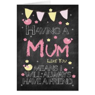 Mum Birthday Chalkboard With Little Birds Flowers Card