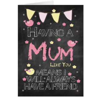 Mum Birthday Chalkboard With Little Birds Flowers Greeting Card