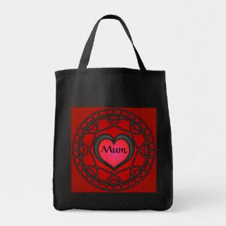 Mum Black/Red Hearts & Swirls Tote bag
