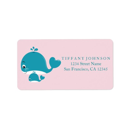 Mum Bub Whale Girl Baby Shower Blue Address Labels