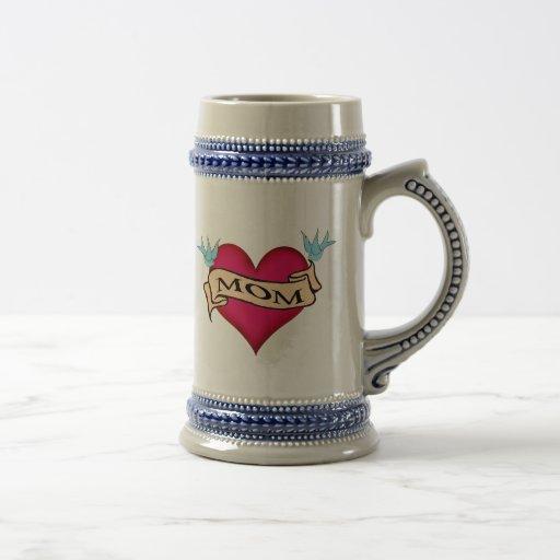 Mum - Custom Heart Tattoo T-shirts & Gifts Beer Steins