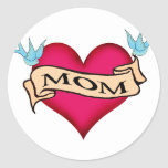Mum - Custom Heart Tattoo T-shirts & Gifts Round Stickers