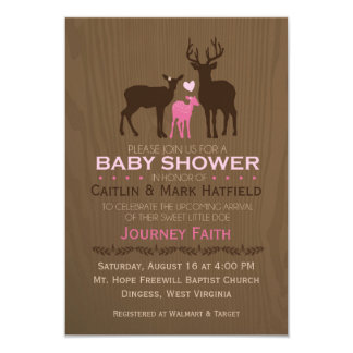 Mum, Dad & Baby Girl Deer Pink Baby Shower Invite