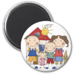 Mum, Dad, Big Boy, Small Girl Family 6 Cm Round Magnet