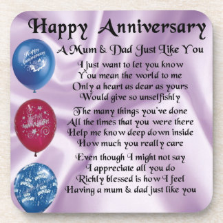 Mum & Dad  -  Happy Anniversary  -  Lilac Coaster
