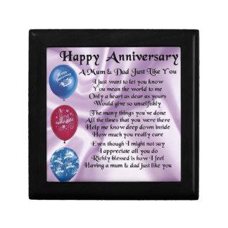 Mum & Dad  -  Happy Anniversary  -  Lilac Small Square Gift Box