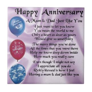 Mum & Dad  -  Happy Anniversary  -  Lilac Small Square Tile