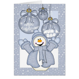 mum & dad, happy snowman christmas card - merry ch