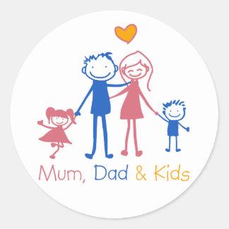 Mum Dad & kids Round Sticker
