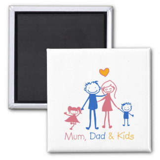 Mum Dad & Kids Square Magnet