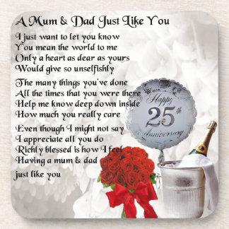 Mum & Dad Poem -  25th Wedding Anniversary Coaster
