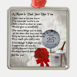 Mum & Dad Poem -  25th Wedding Anniversary Silver-Colored Square Decoration