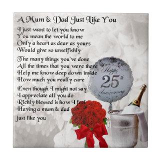 Mum & Dad Poem -  25th Wedding Anniversary Small Square Tile