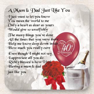 Mum & Dad Poem - 40th Wedding Anniversary Coaster