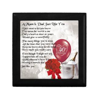 Mum & Dad Poem - 40th Wedding Anniversary Gift Box