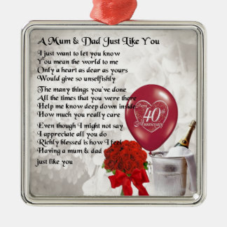 Mum & Dad Poem - 40th Wedding Anniversary Silver-Colored Square Decoration