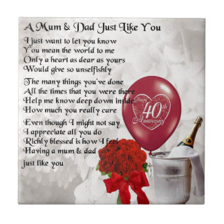 40th Wedding Anniversary Gifts For Mum And Dad : Mum & Dad Poem - 40th Wedding Anniversary Small Square Tile