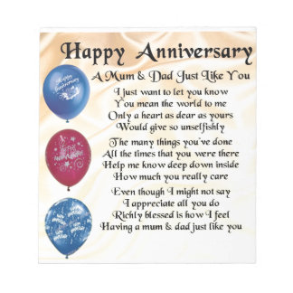 Mum & Dad Poem - Happy Anniversary - Cream Notepad