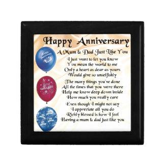 Mum & Dad Poem - Happy Anniversary - Cream Small Square Gift Box