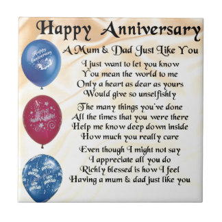 Mum & Dad Poem - Happy Anniversary - Cream Tile