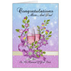 mum & dad wedding vow renewal card with pink champ
