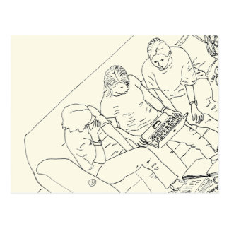 Mum Does Social Media Family Humour Line Drawing Postcard