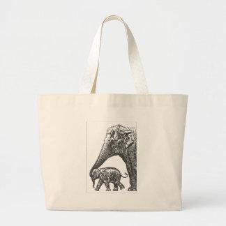 mum elephant and baby jumbo tote bag