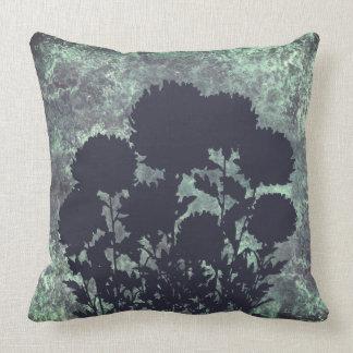 Mum Flowers in Silhouette, Mottled Blue Cushion